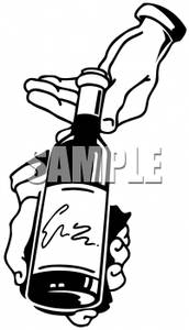 White Hands Holding A Bottle Of Wine   Royalty Free Clipart Picture