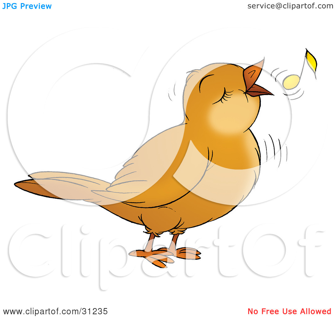 Clipart Illustration Of A Happy Brown Bird Singing Or Whistling With
