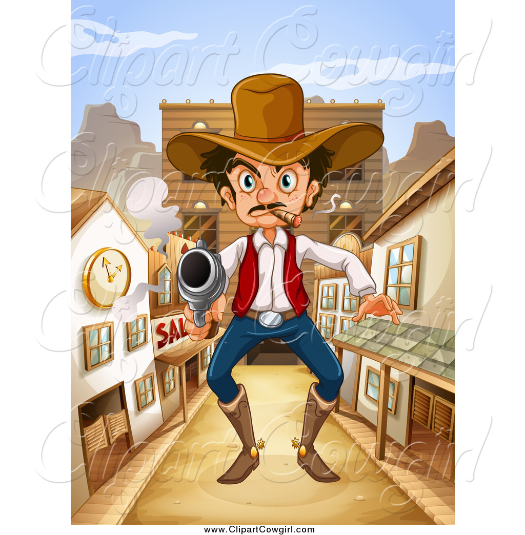 Clipart Of A Giant Mad Outlaw Man With A Pistol In A Wild West Town By