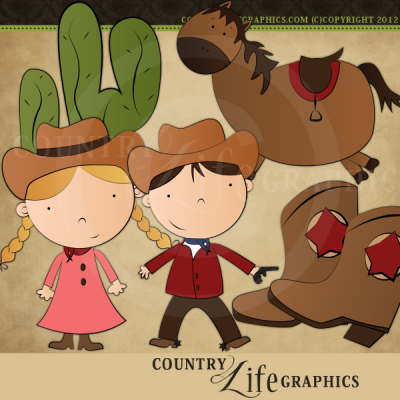 Country Life Graphics   Wild West Clipart Collection