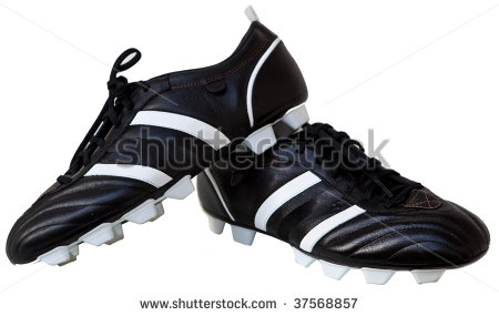 Pair Black Leather Soccer Shoes Isolated On White   Stock Photo