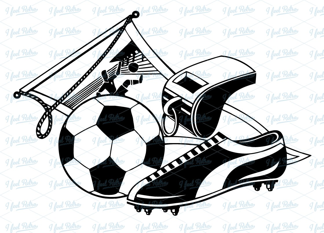 Retro Clipart  Soccer Set   Authentic Vintage European Vector