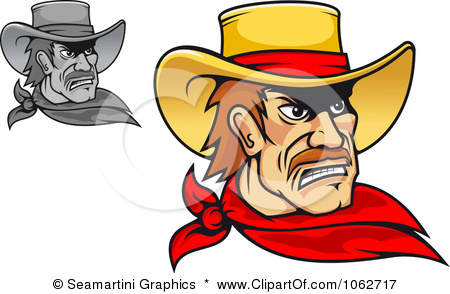Royalty Free Clipart Illustration Of Wild West Outlaws Digital Collage