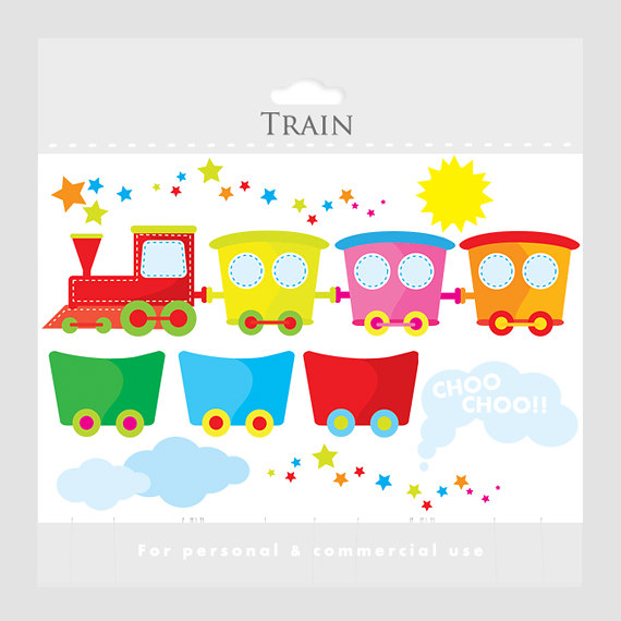 Train Clipart   Cute Train Clip Art And Wagons Sun Clouds Smoke