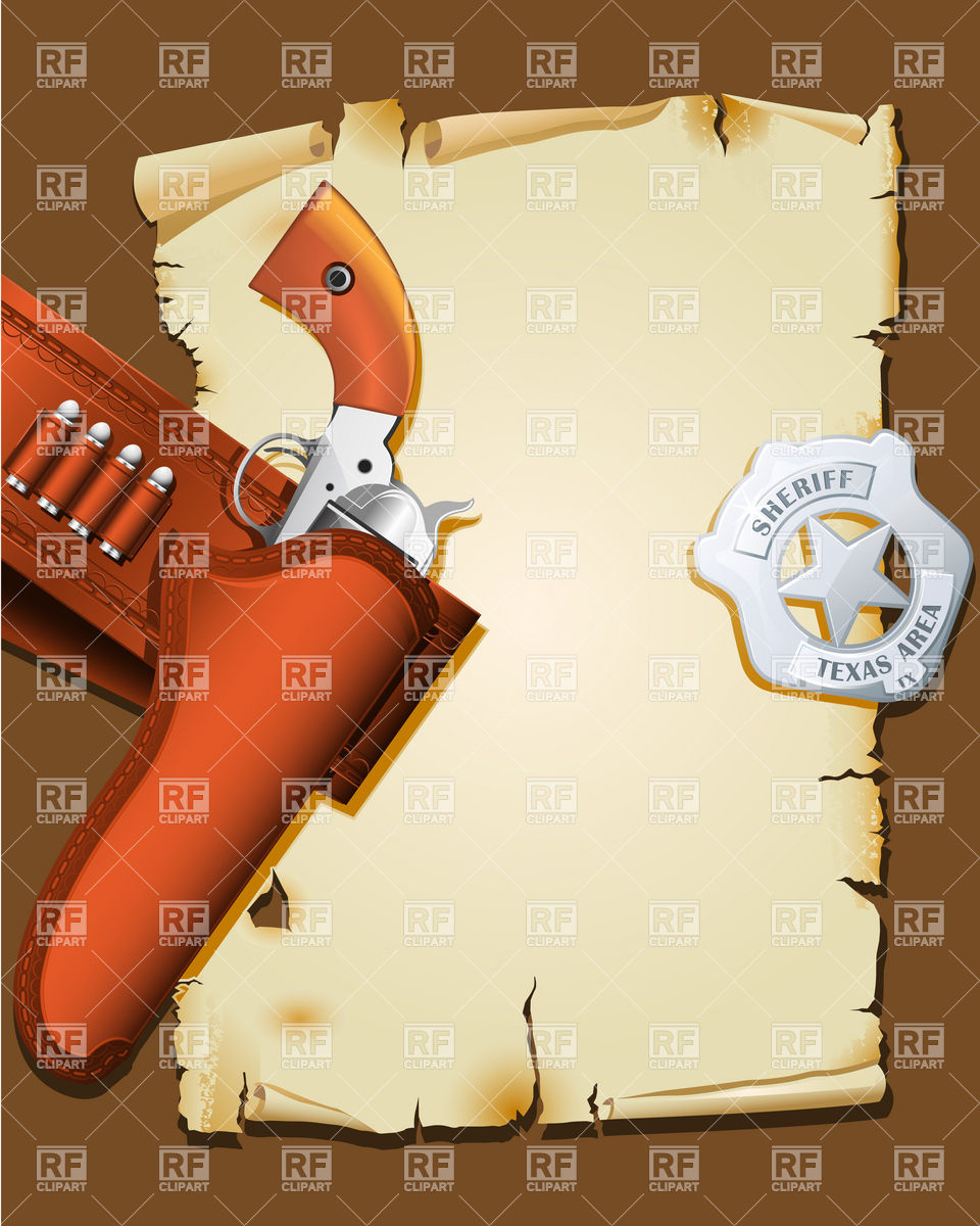 Wild West Poster With Handgun And Sheriff Badge 6066 Borders And