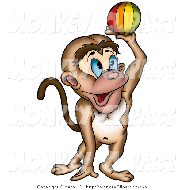 Art Of A Playful Blue Eyed Monkey Catching Or Throwing A Colorful Ball