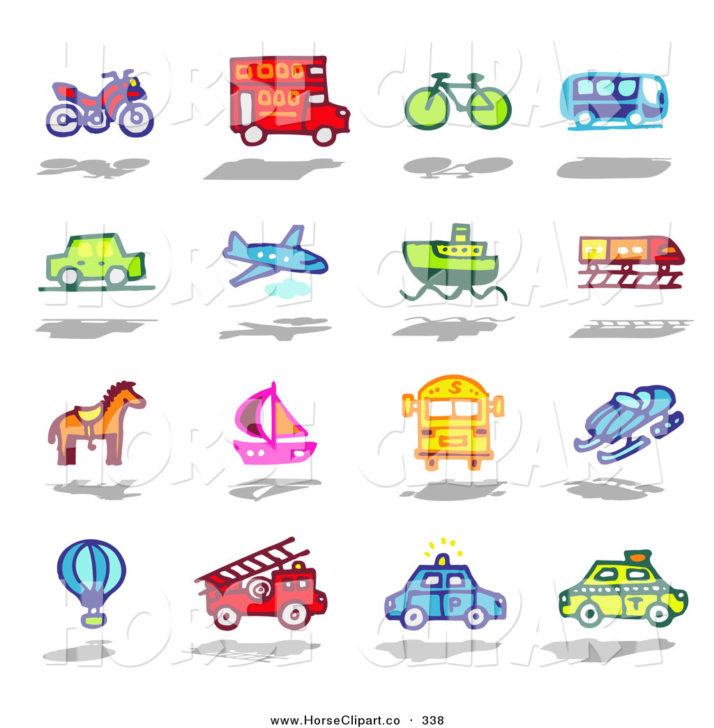 Clip Art Of A Colorful Digital Collage Of Various Modes Of