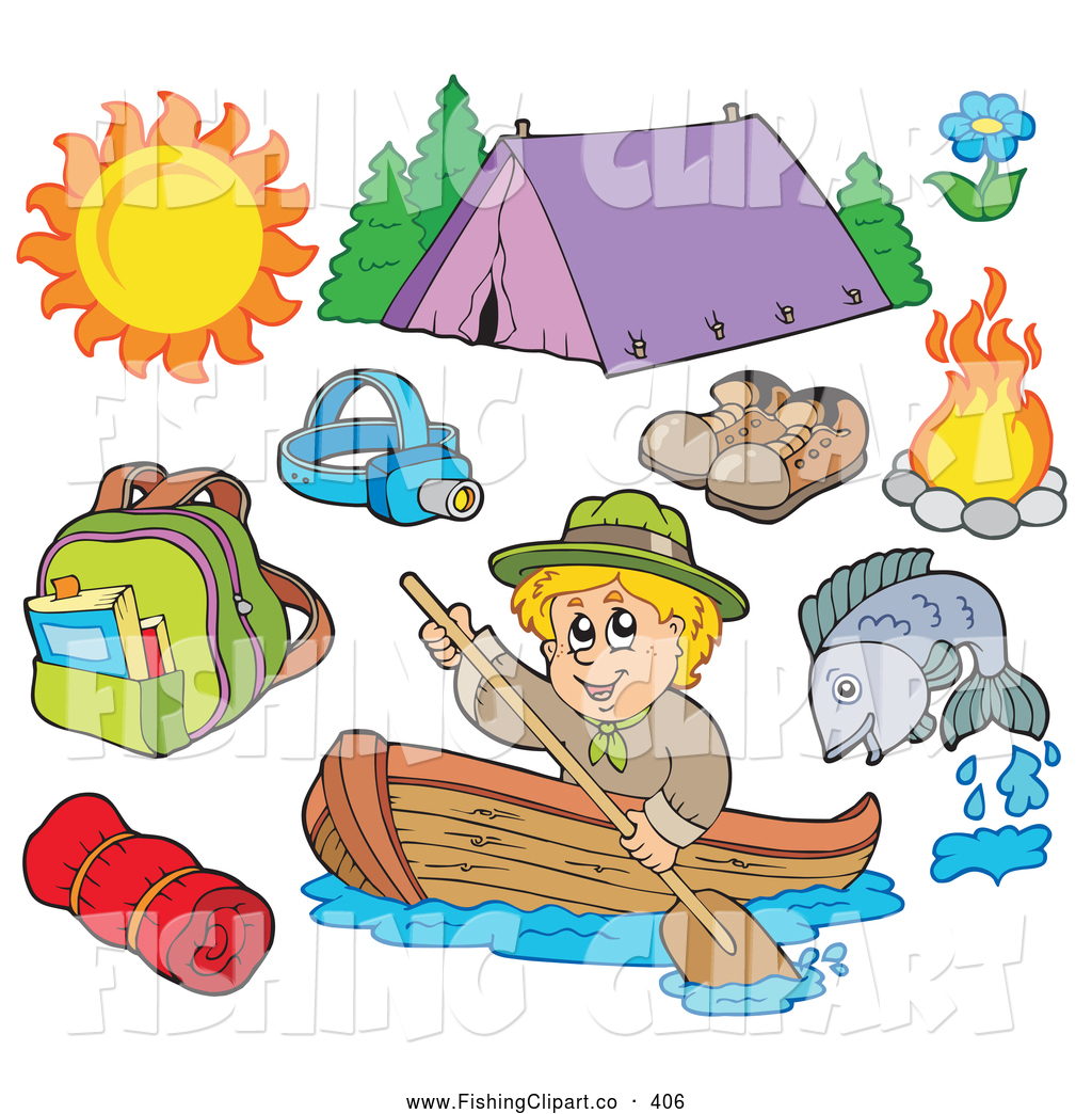 Clip Art Of A Digital Collage Of Summer Recreation And Camping