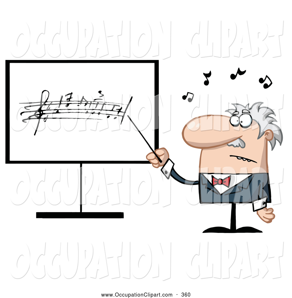 Clip Art Of A Frustrated Music Teacher Pointing To A Board By Hit Toon