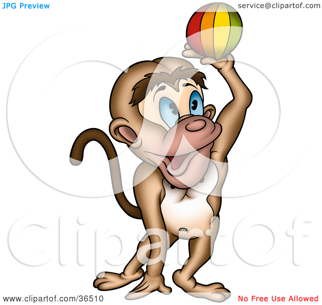 Clipart Illustration Of A Playful Blue Eyed Monkey Catching Or