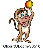 Clipart Illustration Of A Rear View Of A Sitting Gray Monkey Showing