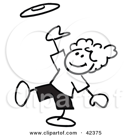 Clipart Illustration Of Black And White Stick Children Throwing Horse