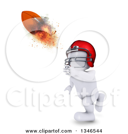 Clipart Of A 3d White Man Catching Or Throwing A Flaming Football