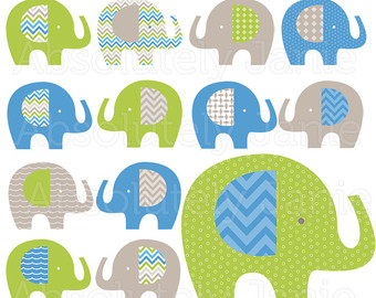 Cool Boys Blue Green Gray Elephant Digital Clipart   Baby Boy Clip Art