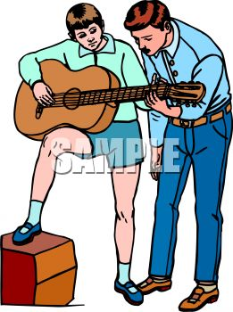 Guitar With Music Teacher Clip Art   Royalty Free Clipart Illustration