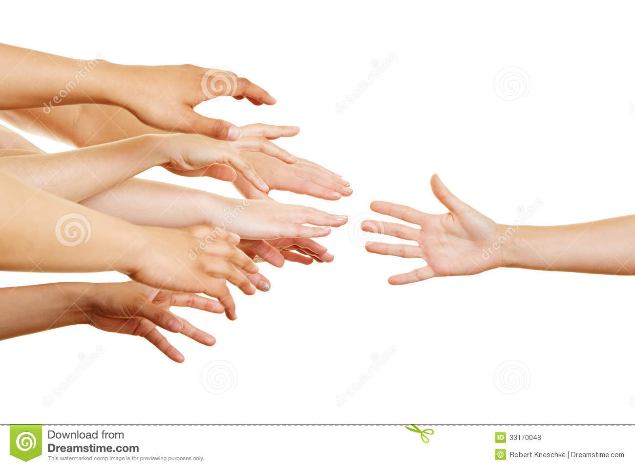 Many Arms Reaching For Helping Hand Royalty Free Stock Photos   Image