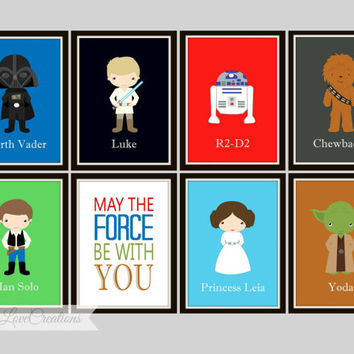 May The Force Be With You Print Boys Room Playroom Star Wars Art