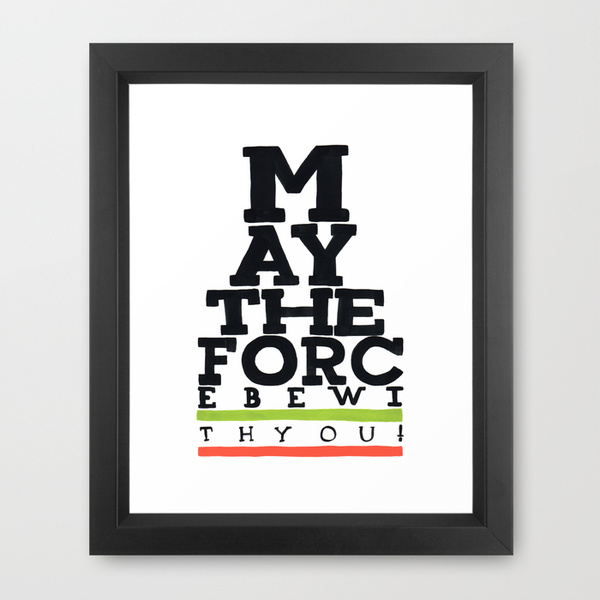 May The Force Be With You   Star Wars Eye Chart Style Movie Poster