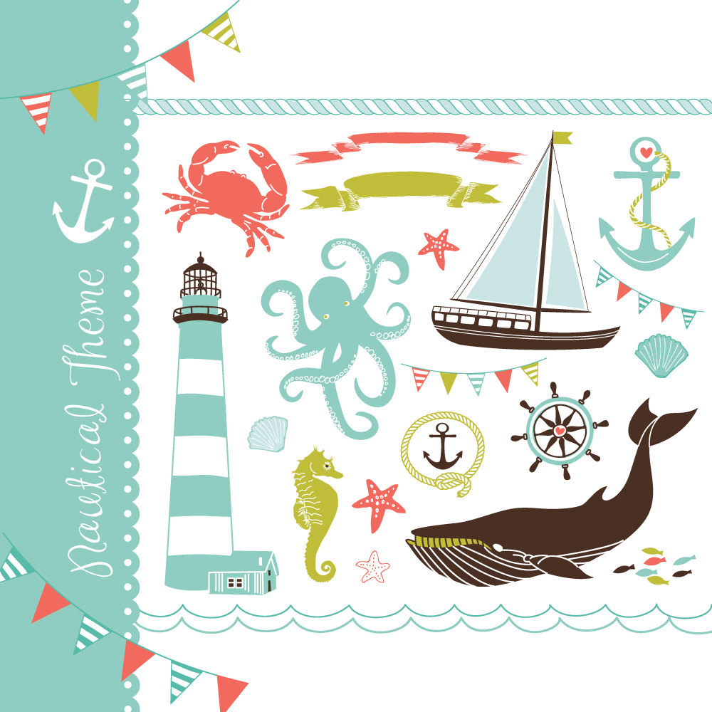Nautical Clip Art Collage Hand Drawn Sea Clipart By Graphicmarket