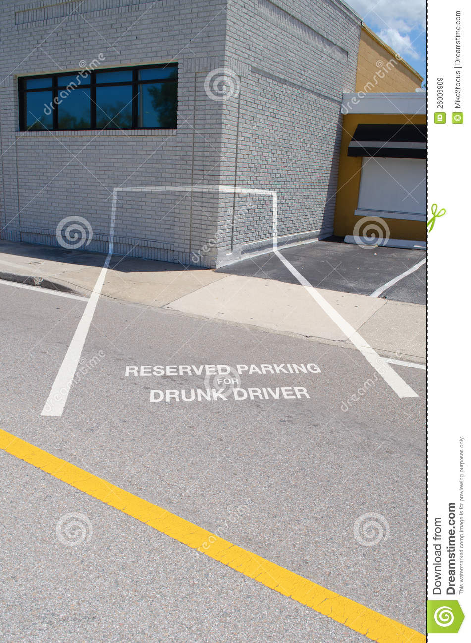 Reserved Parking For Drunk Driver Spot Which Is Painted Into The