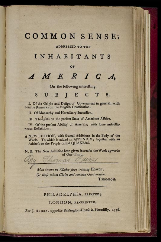 Title Page From Thomas Paine S Common Sense Reprinted In London