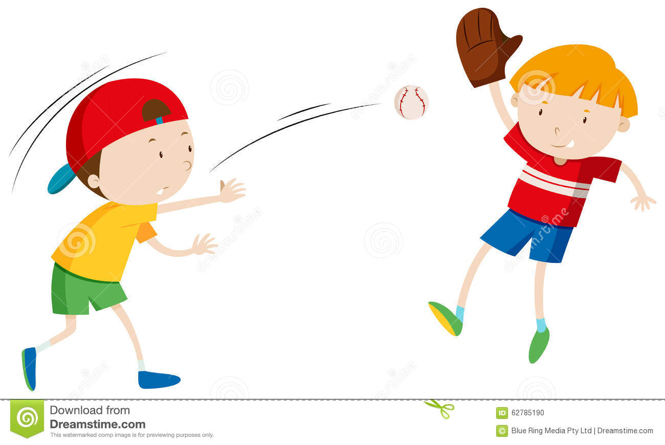 Two Boys Throwing And Catching Ball Stock Illustration   Image