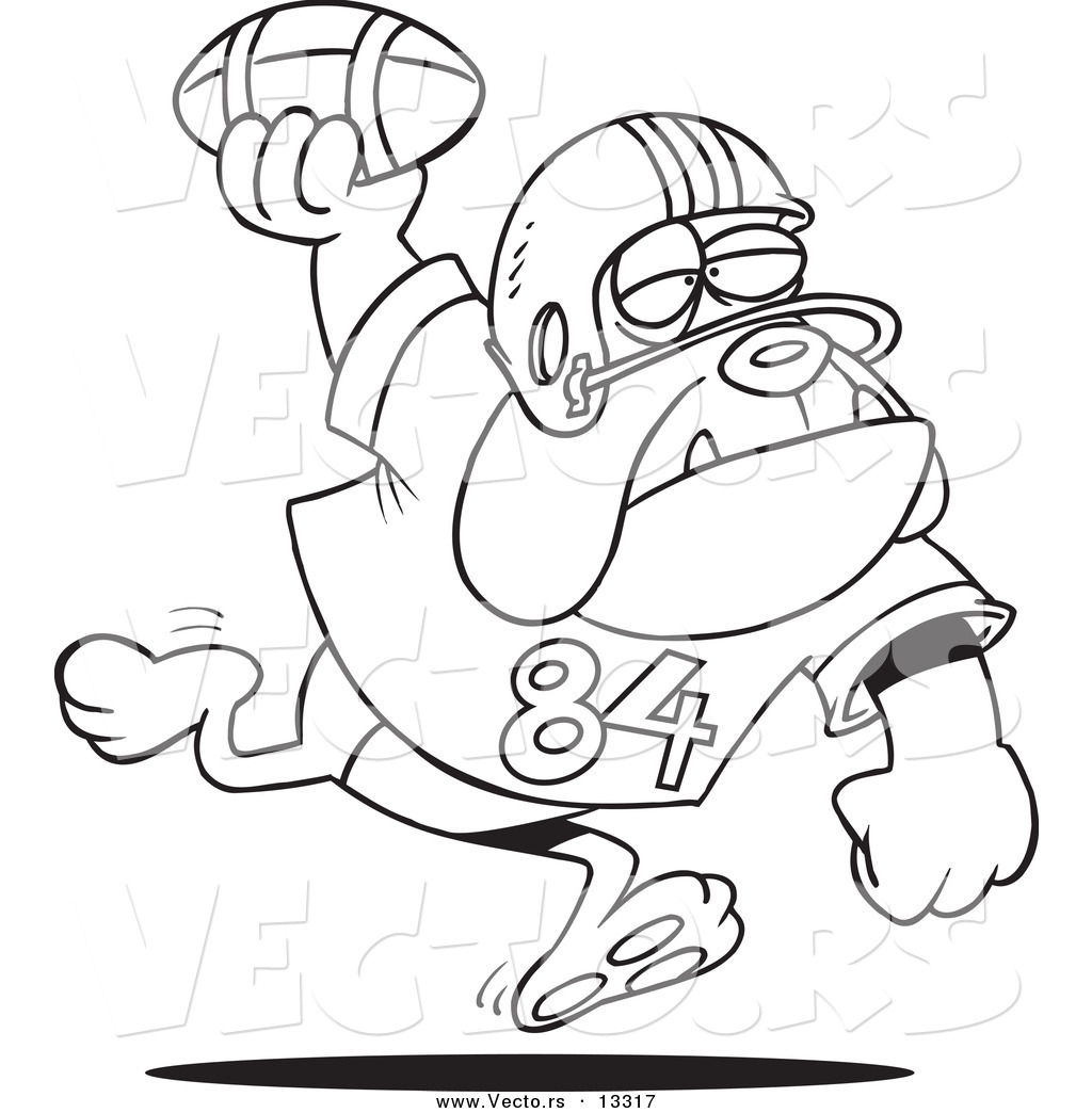 Vector Of A Cartoon Football Bulldog Throwing The Ball   Coloring Page