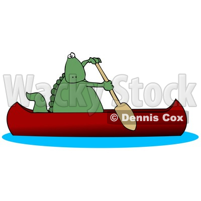 14063 Green Dino Paddling A Red Canoe Clipart Illustration By Dennis