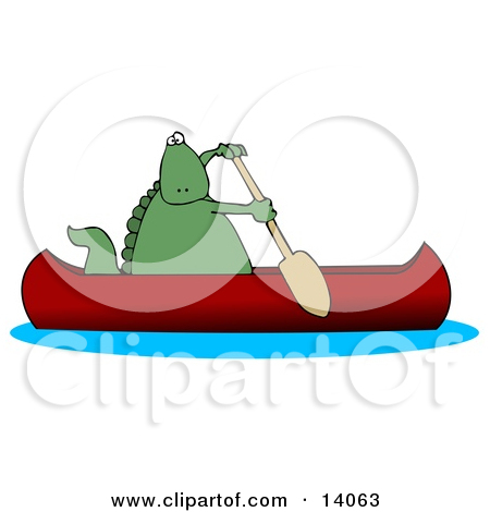 14063 Green Dino Paddling A Red Canoe Clipart Illustration Jpg