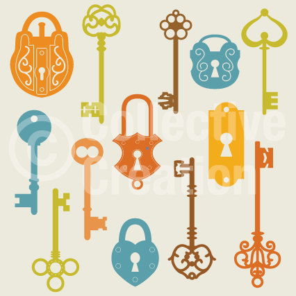 Antique Keys And Locks Clip Art Clipart Set   Personal And Commercial