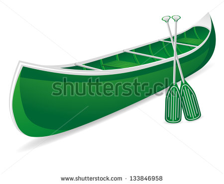 Canoe Vector Illustration Isolated On White Background   Stock Vector