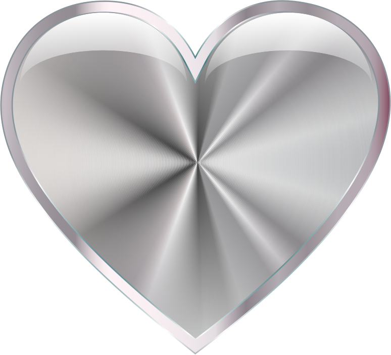Clipart   Silver Radiating Heart