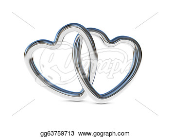 Clipart Two Intertwined Silver Heart Rings 3d Render Stock Picture