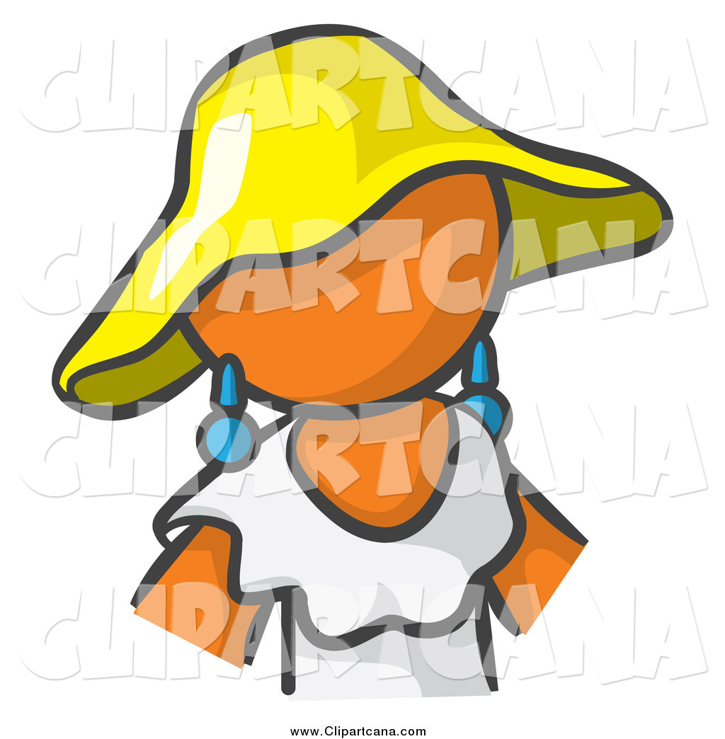 Larger Preview  Clip Art Of A Orange Lady Avatar In A White Dress And