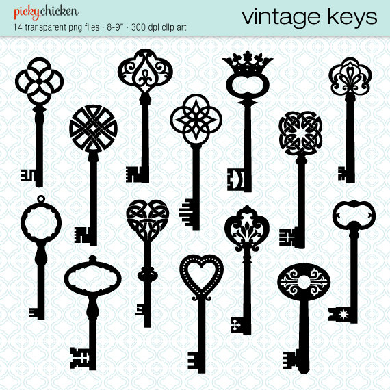 Vintage Keys Clip Art   14 Black Skeleton Key Celtic Victorian French