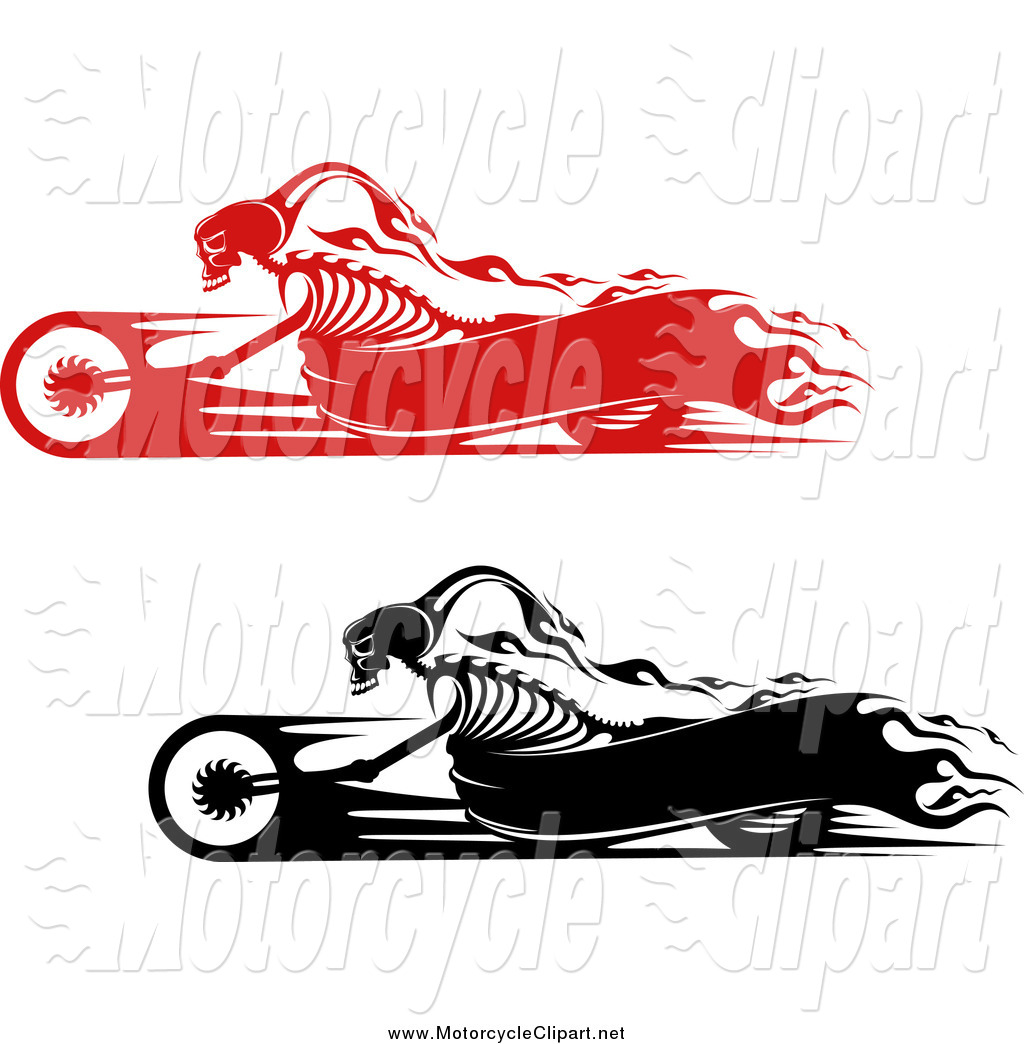 Black And Red Flaming Skeleton Bikers On Motorcycles With Banner