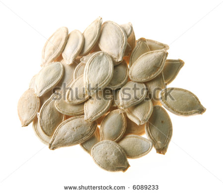 Pumpkin Seed Detail Isolated On White Background Stock Photo 6089233