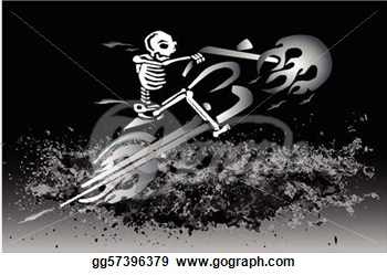 Skeleton On Flaming Motorcycle   Eps File Available  Clipart