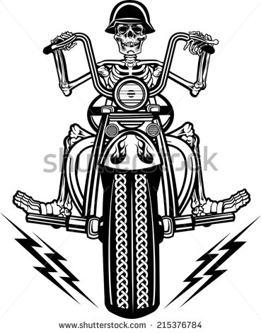 Skeleton On Motorcycle   Stock Vector