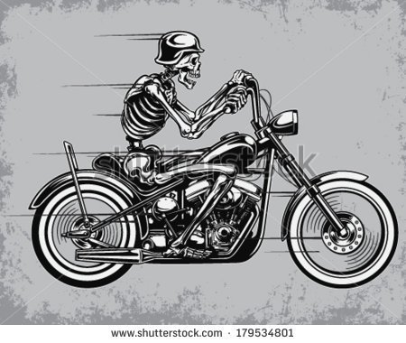 Skeleton Riding Motorcycle Vector Illustration   Stock Vector