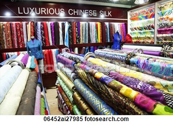 Stock Image Of The Silk Marketmaterial And Silk Shop  Beijing China
