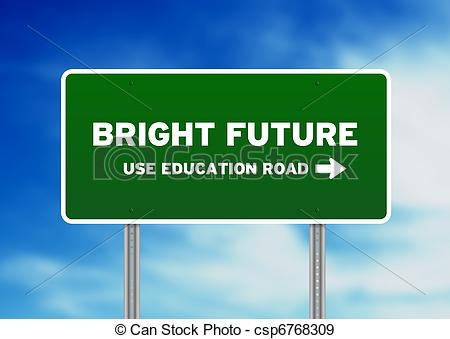 Stock Photographs Of Bright Future Highway Sign   Green Bright Future
