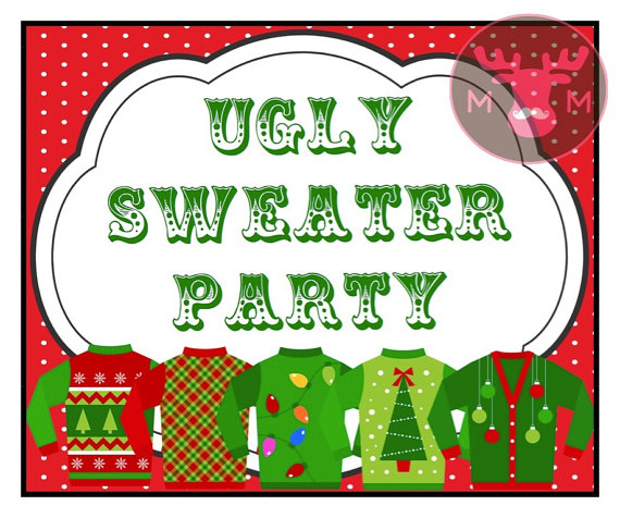 sweater party photo booth sign christmas party holiday