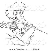 Vector Of A Cartoon Boy Wakeboarding   Coloring Page Outline By Ron