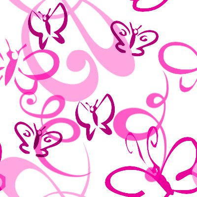 Butterflies And Swirls Seamless Background Pink Background Or