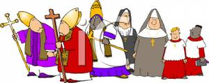 Cartoon Of A Group Of Religious People   Royalty Free Clipart Picture
