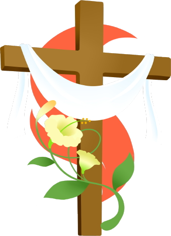 Clip Art Of An Easter Cross With A White Easter Lily