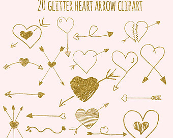 Clipart   Hand Drawn Doodles Arrow And Hearts With Gold Glitter