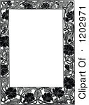 Clipart Of A Vintage Black And White Floral Poppy Page Border Royalty