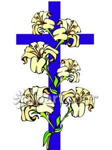 Easter Lilies On A Cross   Royalty Free Clipart Picture
